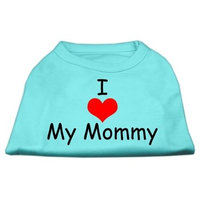 Mirage Pet Products 12-Inch I Love My Mommy Screen Print Shirts for Pets, Medium, Aqua