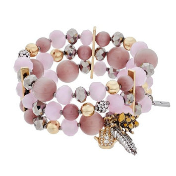 Simply Vera Vera Wang Pink Bead Multirow Stretch Bracelet