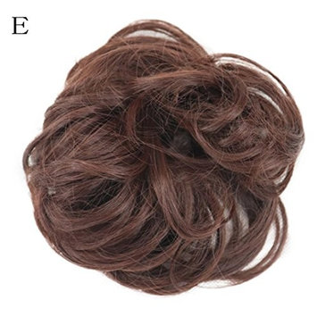 CYCTECH New Popular Women Curly Messy Bun Scrunchie Hair Weave Wig Short Extensions Hair Synthetic Hairpieces Hairdressing (MulticolorE)