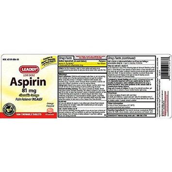 Leader Aspirin 81mg Chewable Orange Tablets 1000 Count Per Bottle