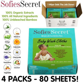 Moist Towel Services SofiesSecret Fragrance FREE Bamboo Baby Wipes, 100% Organic Ingredients, 80 Count, 8