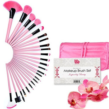 Professional Makeup Brushes, 24 Piece Set, Pink, Vegan, with Plastic Handles, Great for Highlighting & Contouring, Includes Free Case, By Beauty Bon