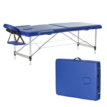Portable Folding Therapy Massage Bed Adjustable Spa Relax Beauty Salon Massage Table Bed With Carrying Bag (Blue)