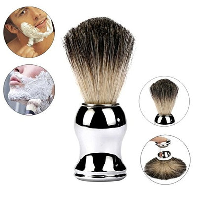 DZT1968 1pc Luxury 100% Pure Badger Hair Shaving Brush Alloy Handle Best Shave Barber silver