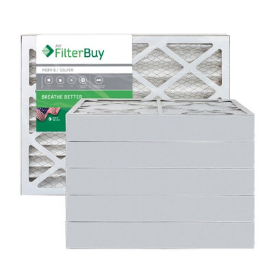AFB Silver MERV 8 12x20x4 Pleated AC Furnace Air Filter. Filters. 100% produced in the USA. (Pack of 6)