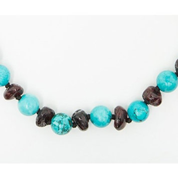 Healing Hazel + baltic bébé – 100% Certified Balticamber Pop Clasp Children Necklace with Gemstones, Turquoise~12-13 inches (reduce drooling & teething pain)