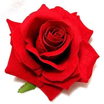 Goege Red Rose Velvet Hair Flower Clip and Pin