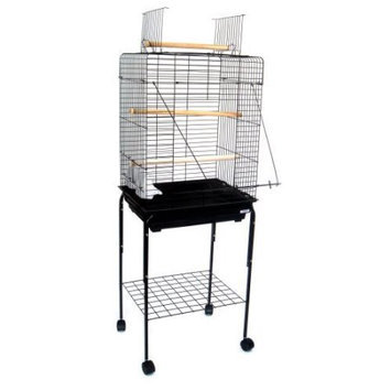 Yml Group Three Perch Playtop Bird Cage with Optional Stand, Antique Silver, 20W x16D x 28H inches - Antique Silver, 20W x16D x 28H inches - 1924-AS