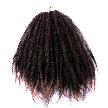 18 Inch Black Brown Afro Kinky Curly Twist Crochet Braids Synthetic Ombre Braiding Hair Extensions 100g/pack (18inch 1b27)