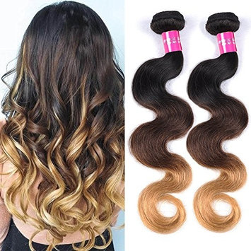 Comely Hair 3 Tone Ombre Body Wave Hair Unprocessed Virgin Brazilian Hair Bundles 100% Ombre Wavy Human Hair Extensions