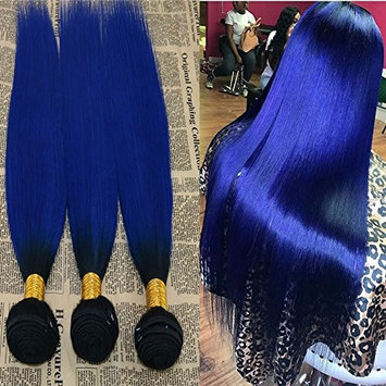 16'' 1 Bundle Virgin Brazilian Hair Extension Two Tone Omber Blue Virgin Remy Human Hair Weft Straight Remy Hair Weaving