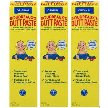 Boudreaux's Butt Paste Diaper Rash Ointment   Original   4 Ounce (Pack of 3)   Paraben & Preservative Free