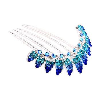 Sanwood Hair Styling Tools Blue Rhinestone Leaves Decorative Hair Side Combs