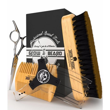 Beard Brush & Mustache Comb with Stanley Steel Trimming Scissor & Goatee Shaping Tool Grooming Kit for Man Care, Styling, Growth & Maintenance.