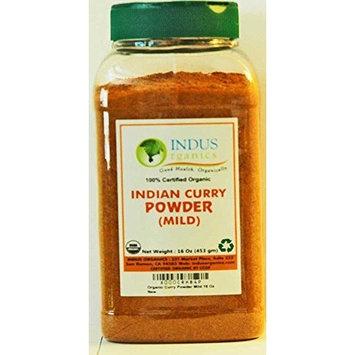 Indus Organics Authentic Indian Curry Powder Blend (Mild), 1 Lb Jar, Salt Free, Premium Grade, Freshly Packed