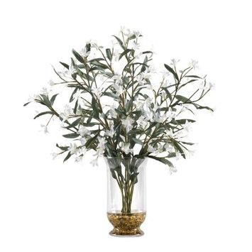 D & W Silks D Silks White Wild Flowers in Glass Hurricane Vase