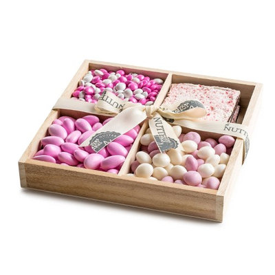 The Nuttery Ny The Nuttery 4-Section Pink Chocolate and Candy Tray, Gift For Baby Girl Baby Shower