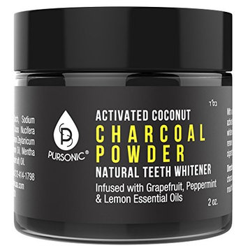Pursonic Teeth Whitening Charcoal Powder Natural, Infused With Grapefruit,Peppermint & Lemon Essential Oils Made In USA, 2oz