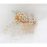 LISALI Wedding Hair Comb, Crystal Headpiece, Leaf Hair Comb, Gold bridal Vine Bridal Hair Comb