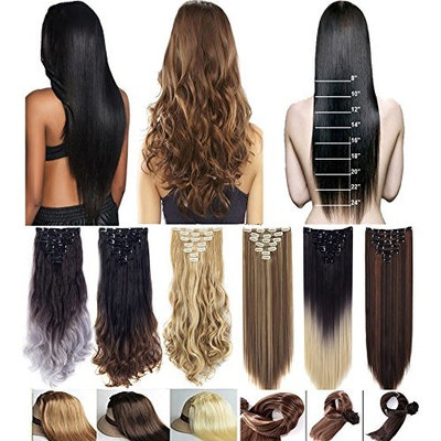 3-5 Days Delivery 7Pcs 16 Clips 23 24 Inch Real Thick Curly Straight Full Head Double Weft Clip in on Hair Extensions Ombre Dip Dye Two Tone Color or Single Color