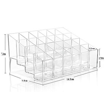 NYKKOLA 24 Lattices Clear Acrylic Lipstick Holder Organizer Display Stand Cosmetic Makeup Organizer for Lipstick, Brushes, Bottles