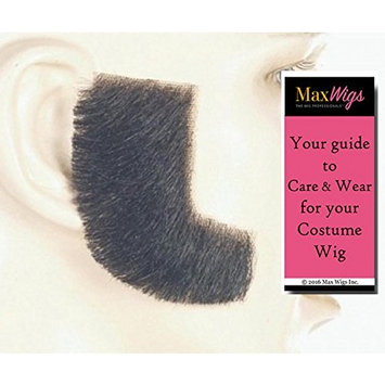 Sideburns Color DK BROWN - Lacey Wigs Synthetic Hand Made Fake Facial Historical Bundle with MaxWigs Costume Wig Care Guide