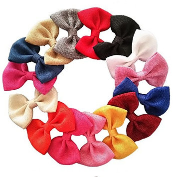 Yazon 16pcs 4 inch Burlap Fabric Bows Baby Boutique Hair Bows Girl's Accessories (16pcs mix color without clips)