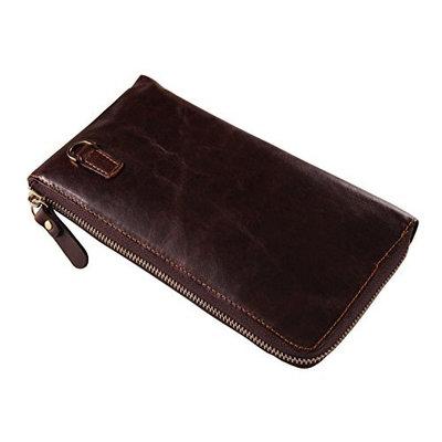 Everdoss Slim Design Leather Men's Clutch Bag Wallet Purse Coffee