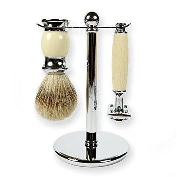 3 Piece Kaliandee Shaving Set with Silvertip Brush in Chrome and Ivory, Fiore Razor, and Chrome Stand