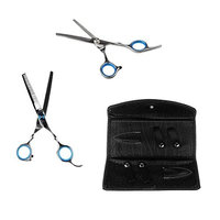Dovewill Professional 6 inch Hair Cutting Scissors Thinning Shears Set with Leather Case for Barbers Salon and Home Use Stainless Steel