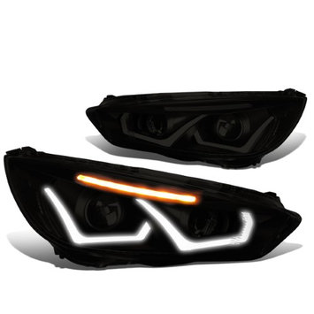 Dna Motoring 15-17 Ford Focus Pair of Dual U-HALO DRL + LED Turn Signal Projector Headlight (Black Housing Smoked Lens Clear Signal)