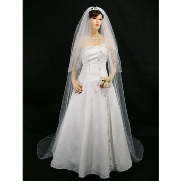 2T 2 Tier Wide Crystal Beaded Edge Veil Cathedral length 108