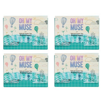 [Oh!My Muse] Natural Green Tea Oil Absorbing Sheets, Blotting Paper, 50 count (4 Packs) : Beauty