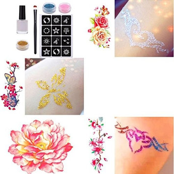 Creazy Glitter Tattoo Powder Temporary Tattoo Body Painting Kit Brushes Glue Stencils