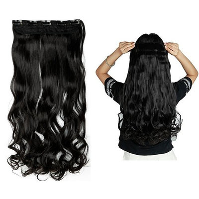 Charming Women Clip in Hair Extension 29 inch Long Natural Black Curly Hairpiece One Piece Hair Wig 3/4 Half Full Head 8Pcs