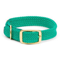 Mendota Double Braid Dog Collar Color: Teal, Size: 1