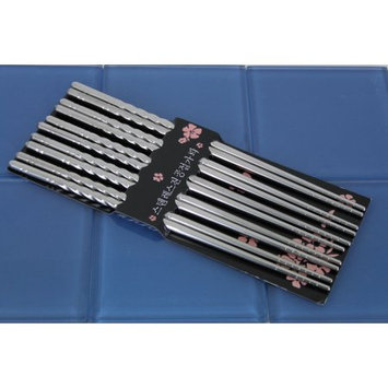 Golden Coulee TEMO 10 pc Chopstick Stainless Steel Chopsticks 5 Pairs spiral