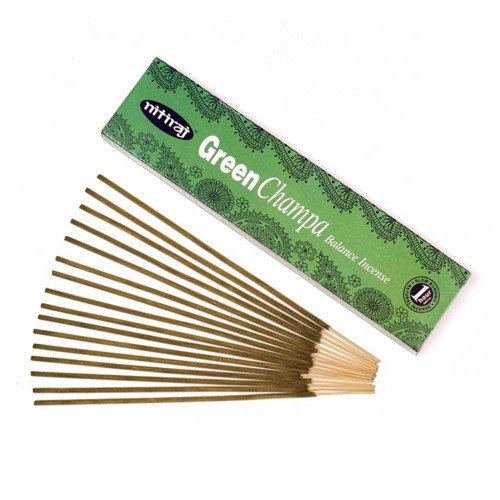 Nitiraj Color Champa Incense 2-Pack 25gm Slow Burning 1 Hour per Stick Green