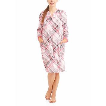 Women's Zip Front Diamond Fleece Printed Duster