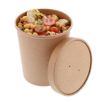 Royal 32 oz. Kraft Paper Soup/Hot/Cold Food Container and Lid Combo, Pack of 250