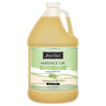 Bon Vital' Therapeutic Touch Massage Oil Made with Olive Oil to Repair Dry Skin & Soothe Sore Muscles, Lightweight Oil Perfect for Any Massage to Hydrate and Nourish Dry, Rough Skin, 1 Gallon Bottle [Therapeutic Touch]