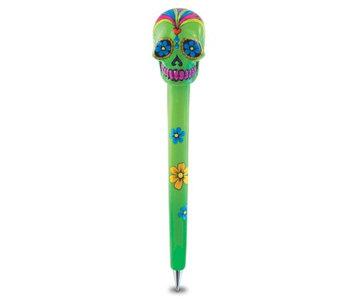 Puzzled Resin Pen Green Skull