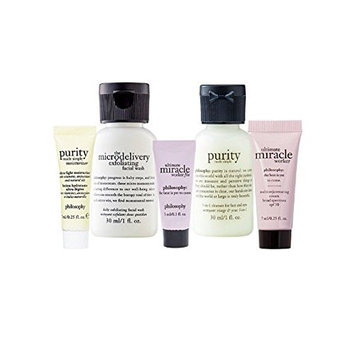 Philosophy ~ Microdelivery Exfoliating Facial Wash ~ 3-in-1 Cleanser ~ Purity Made Simple Moisturizer ~ Ultimate Miracle Worker Multi-Rejuvenating Cream SPF 30 ~ Worker Fix 5-Piece Travel/Mini Set