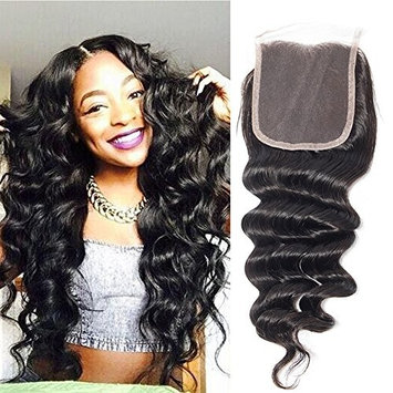 RECOOL Hair Loose Deep Closure Human Hair Extensions one Piece Lace Closure Separately for Sale Natural Color