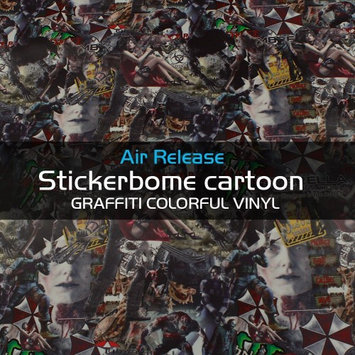 Car Elements Resident Evil Sticker Bomb Stickerbomb Vinyl Sheet Self-Adhesive Graffiti Wrap Stickerbomb Wrap Decal (85' x 60')