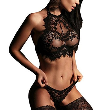 Yutao Womens Sexy Lingerie Lace Flowers Push-Up Bra Top Underwear Two Pieces Set (X-LARGE, BLACK)
