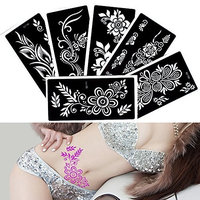 6 Sheets Glitter Flower Henna Tattoo Stencil for Woman Female Kids Sexy Drawing Template