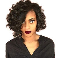 Ten Chopstics Wig Short Curly Human Hair 360 Lace Frontal Wigs for Black Women 10