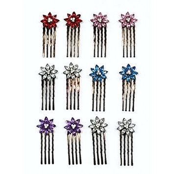 12 Pieces With 5 Different Color Rhinestone With Dark Grey Color Metal Mini Comb C-4