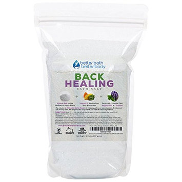 Back Healing Bath Salt 32oz (2-Lbs) Epsom Salt With Peppermint, Lavender, Bergamot, Eucalyptus Essential Oil Plus Vitamin C Crystals - Bath Soak For Back Aches & Pains